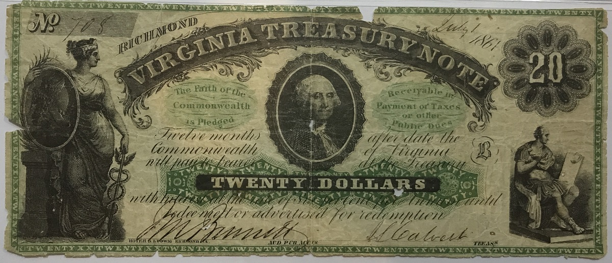 1861 Richmond, Virginia Treasury $20 Civil War Date Note