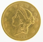 1873 $20 Gold Double Eagle Liberty Coin