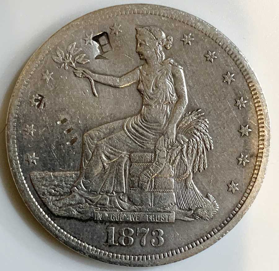 1873-S Silver Trade Dollar With Chop Marks
