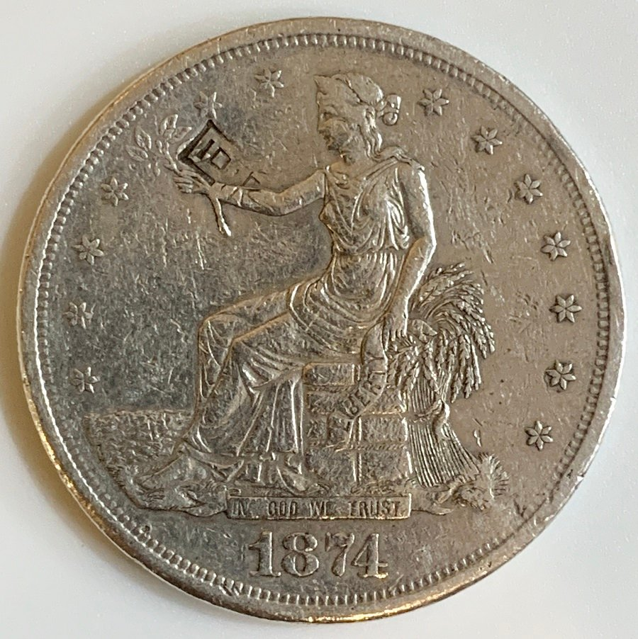 1874-S Silver Trade Dollar With Chop Marks
