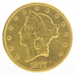 1877 $20 Gold Double Eagle Liberty Coin