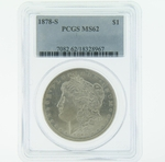 1878 S Silver Morgan Dollar PCGS MS-62