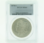 1878 S Silver Morgan Dollar PCGS MS-64