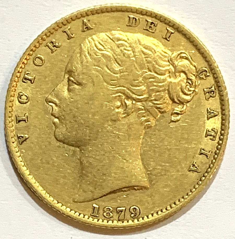 1879-S Victoria Sydney Young Head Shield Sovereign