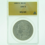1880 Silver Morgan Dollar ANACS MS-63