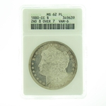 1880 CC 2nd 8 Over 7 VAM-6 Silver Morgan Dollar ANACS MS-62 PL
