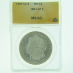 1881 CC Silver Morgan Dollar ANACS MS-63