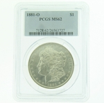 1881 O Silver Morgan Dollar PCGS MS-62