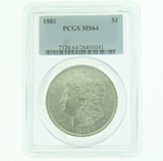 1881 Silver Morgan Dollar PCGS MS-64