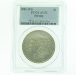 1882 O/S Silver Morgan Dollar PCGS AU-53 Strong