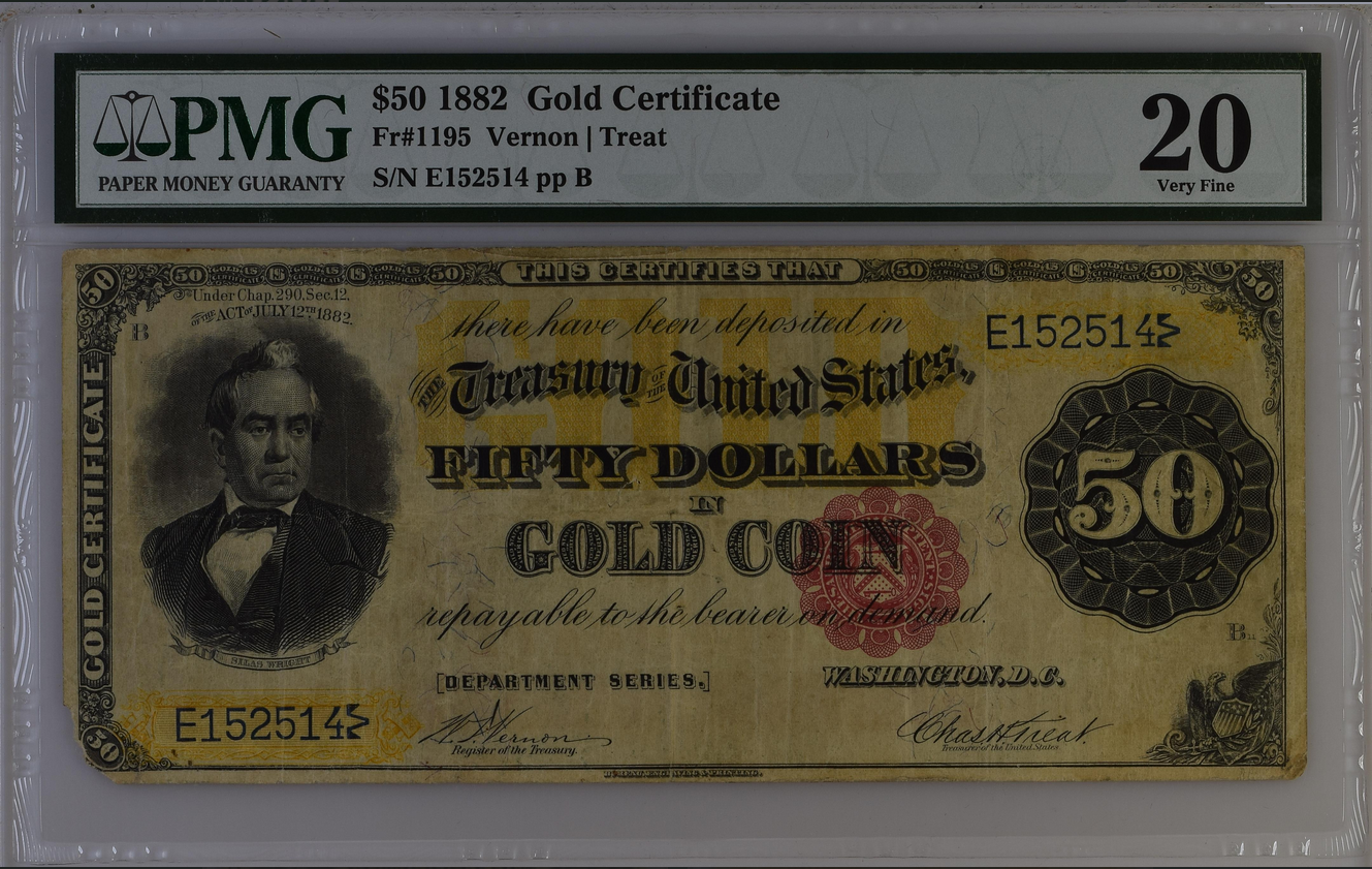 1882 $50 Fifty Dollar Gold Certificate Fr-1195 PMG 20 Very Fine