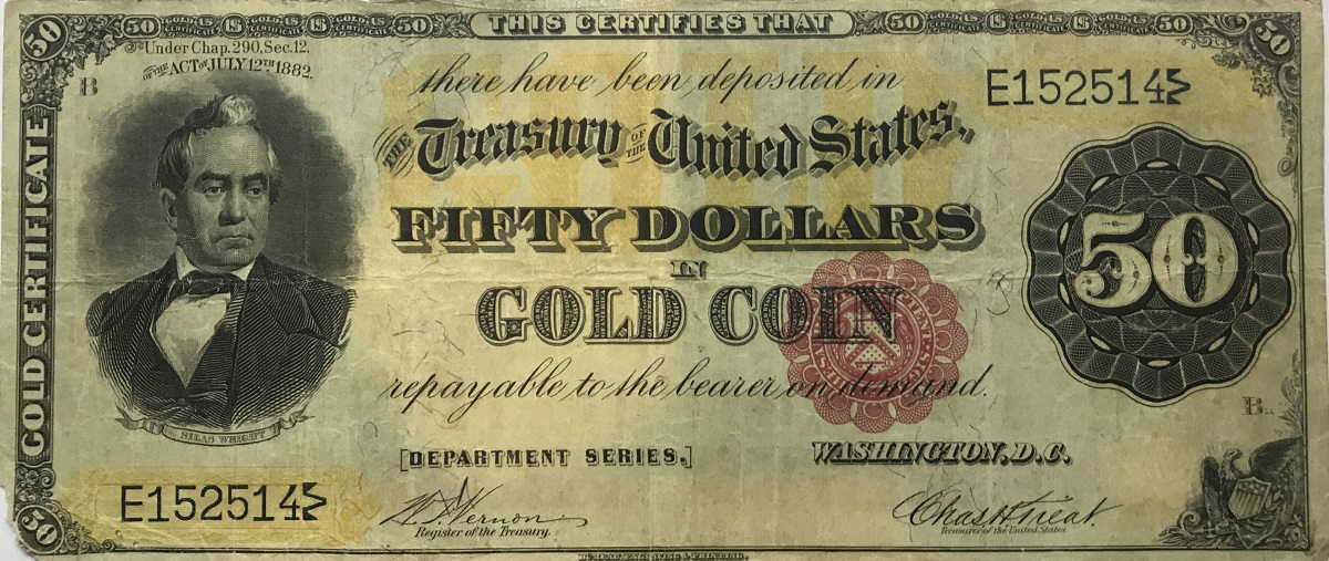 1882 United States $50 Dollar Gold Certificate Currency Note