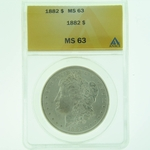 1882 Silver Morgan Dollar ANACS MS-63