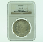 1882 S Silver Morgan Dollar NGC MS-62