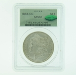 1884 CC Silver Morgan Dollar PCGS MS-63 CAC