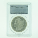 1884 CC Silver Morgan Dollar PCGS MS-65