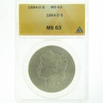 1884 O Silver Morgan Dollar ANACS MS-63