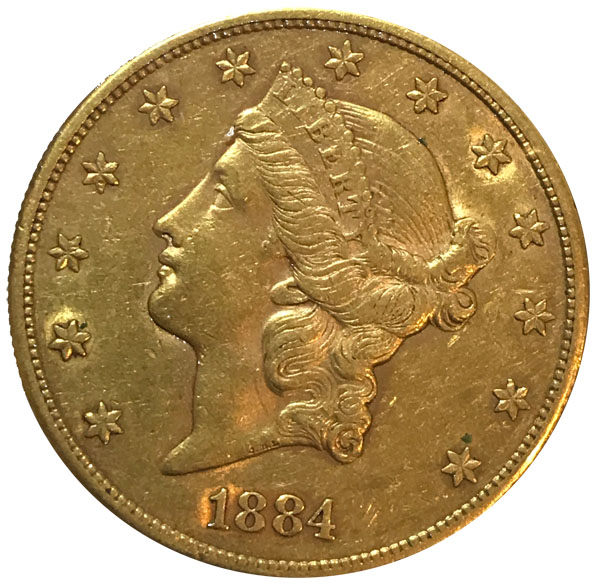 1884-S $20 Gold Double Eagle Liberty Coin