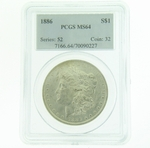 1886 Silver Morgan Dollar PCGS MS-64