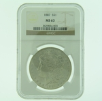 1887 Silver Morgan Dollar NGC MS-63