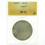 1888 Silver Morgan Dollar ANACS MS-61