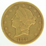 1888-S $20 PCGS XF45 Gold Double Eagle Liberty Coin