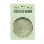 1890 Silver Morgan Dollar ANACS MS-62