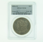 1890 CC Silver Morgan Dollar PCGS VF-30