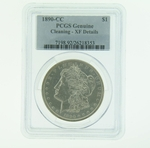 1890 CC Silver Morgan Dollar PCGS Genuine Cleaning