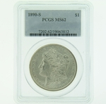 1890 S Silver Morgan Dollar PCGS MS-62