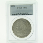 1891 Silver Morgan Dollar PCGS MS-62