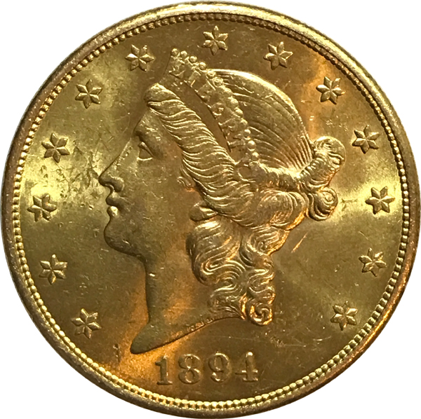 1894-S $20 Gold Double Eagle Liberty Coin