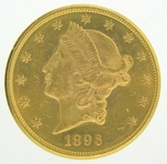 1896-S $20 PCGS MS61 Gold Double Eagle Liberty Coin