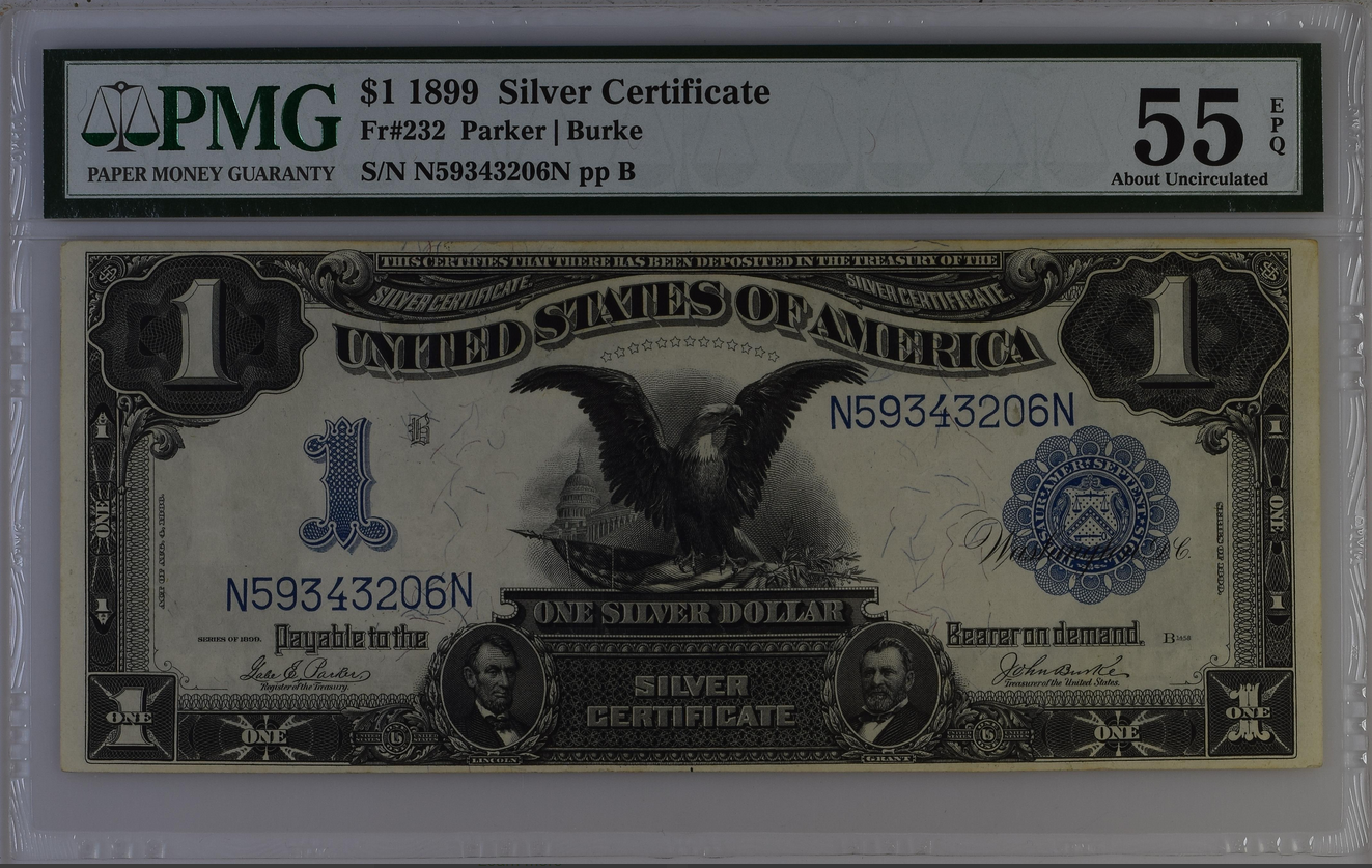 1899 $1 Dollar Silver Certificate Fr-232 PMG 55 EPQ About Unc
