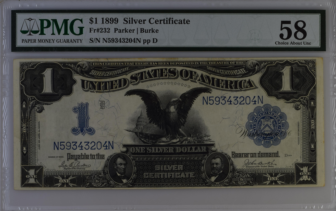 1899 $1 Dollar Silver Certificate Fr-232 PMG 58 Choice About Unc