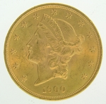 1900 $20 PCGS MS62 Gold Double Eagle Liberty Coin