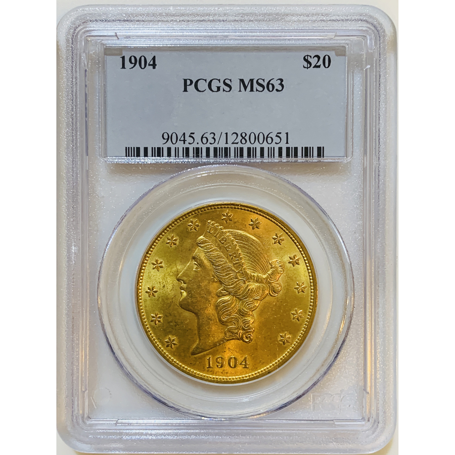 1904 $20 PCGS MS63 Gold Double Eagle Liberty Coin