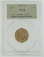1907 PCGS MS61 $5 Gold Eagle Liberty Coin