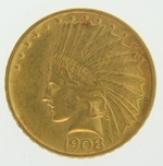 1908 $10 Gold Indian Head Eagle Coin