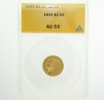1910 $2.5 Gold Indian Head Eagle Coin ANACS AU53