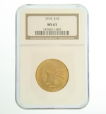 1910 NGC MS63 $10 Gold Indian Head Eagle Coin