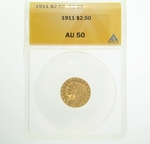 1911 $2.5 Gold Indian Head Eagle Coin ANACS AU50