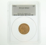 1911 $5 Gold Indian Head Eagle Coin PCGS MS62