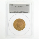 1911 PCGS MS63+ $10 Gold Indian Head Eagle Coin