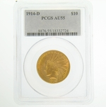 1914 D PCGS AU55 $10 Gold Indian Head Eagle Coin