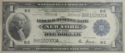 1914 $1 Federal Reserve Bank Note New York, Fine
