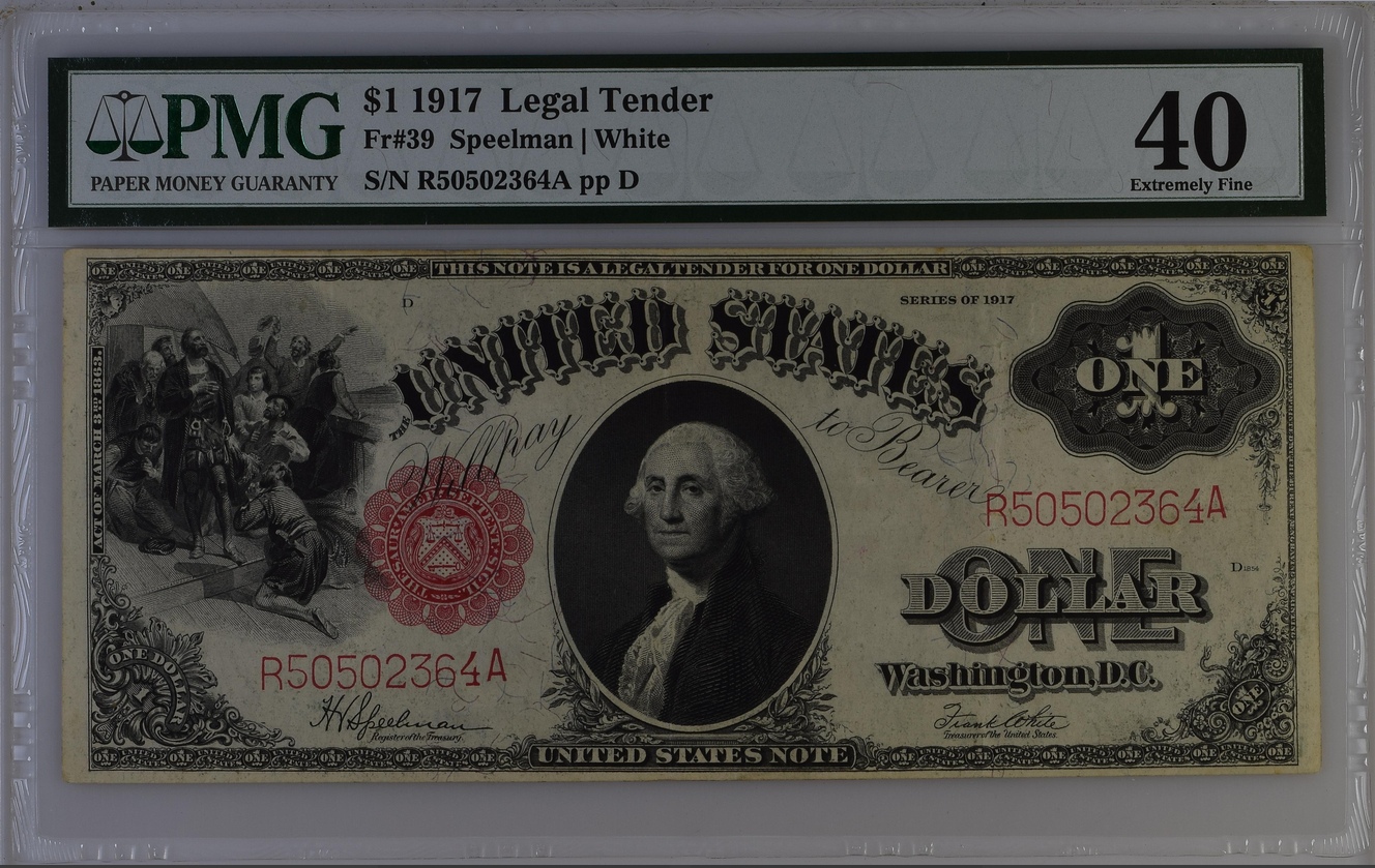 1917 $1 Dollar Legal Tender Fr-39 PMG 40 Extremely Fine