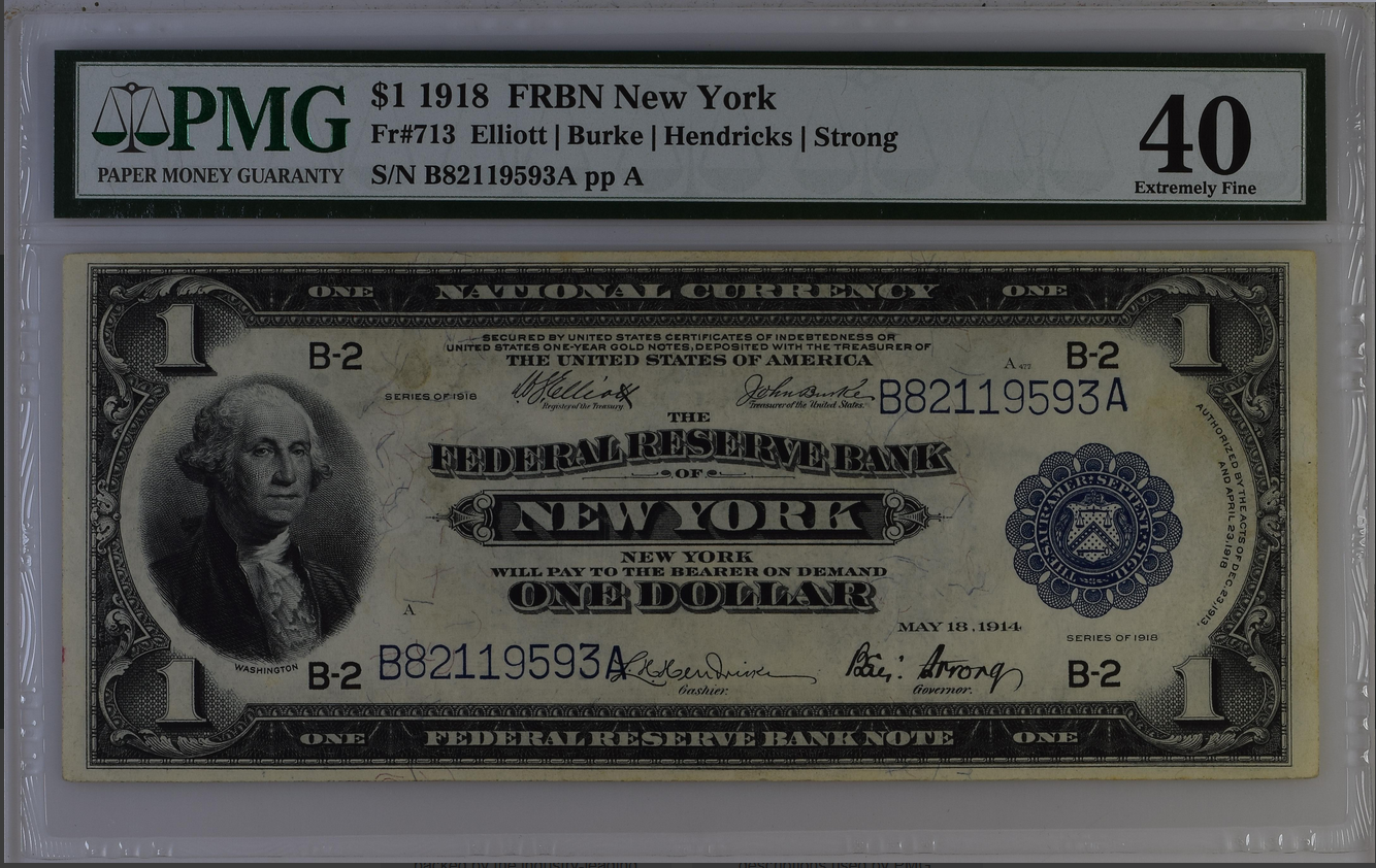 1918 $1 Dollar FRBN New York Fr-713 PMG 40 Extremely Fine