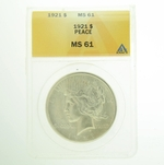 1921 Peace Silver Dollar ANACS MS-61
