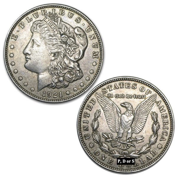1921 P, D, or S Mint Silver Morgan Dollars Good